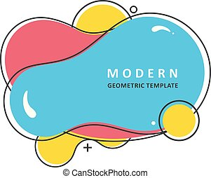 Trendy vibrant spots. Abstract colorful waves. Modern vector template. Memphis Liquid shape. Mosaic amoeba design