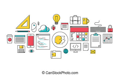 Flat design style modern vector illustration thin line icons set of web design, office equipment, coding and programming elements, working business tools for internet workflow and management. Isolated on white background.