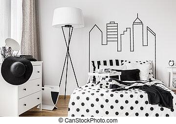 Trendy woman bedroom