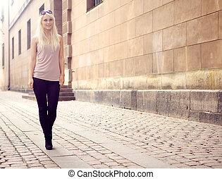 Trendy Young City Girl - Trendy elegant slim young city girl...