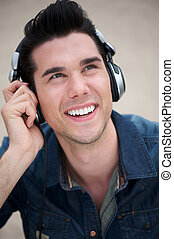 Trendy young man with headphones