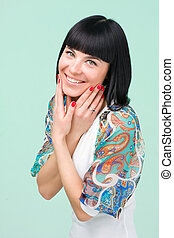 woman in funky dress smiling
