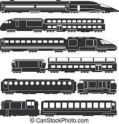 trenes, y, carros, negro, vector, ferrocarril, carga, y, pasajero, transporte, siluetas