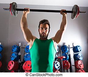trening, barbell, weightlifting, stosowność, sala gimnastyczna, człowiek