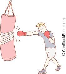 trening, boks, sala gimnastyczna, człowiek
