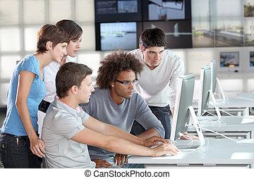 trening, grupa, młody, handlowy zaludniają