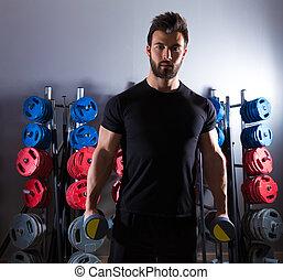 trening, hantel, sala gimnastyczna, człowiek, stosowność