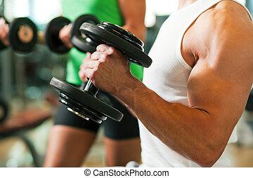 trening, hantel, sala gimnastyczna