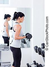 trening, kobieta, ciężar, sala gimnastyczne zaopatrzenie, sport