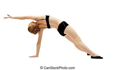 trening, kobieta, górny, młody, czarnoskóry, biały