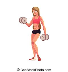 trening, kobieta, pracujący, bodybuilder, herb, dumbbells, poza, weightlifter