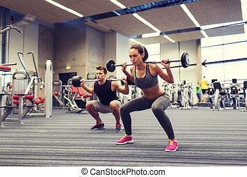 trening, kobieta, sala gimnastyczna, młody, barbell, człowiek