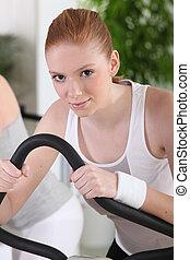 trening, kobieta, sala gimnastyczna, młody