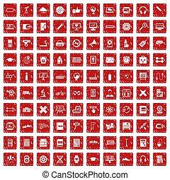 trening, komplet, grunge, ikony, 100, czerwony
