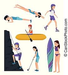 trening, komplet, styl życia, dziewczyny, działalność, ruch