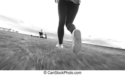 trening, na wolnym powietrzu, gimnastyczny, -, ułamkowy, występuje, dziewczyna, trawa