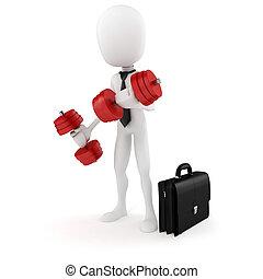 trening, powodzenie, handlowy, biznesmen, 3d, człowiek