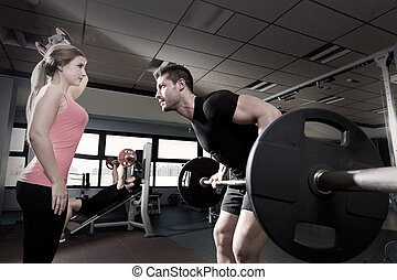 trening, sala gimnastyczna, barbell, weightlifting, hantel, para