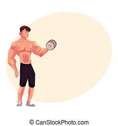 trening, trening, bodybuilder, herb, bicep, hantel, weightlifter, człowiek