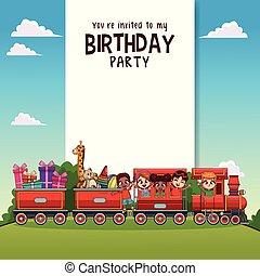 treno, bambini, scheda, compleanno, felice