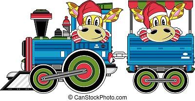Asino treno cartone animato carino asino vettore - Cartone animato giraffe immagini ...