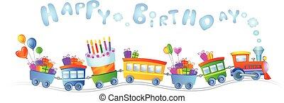 treno, compleanno, felice