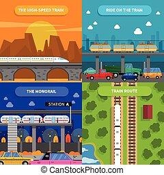 treno, concetto, set, icone