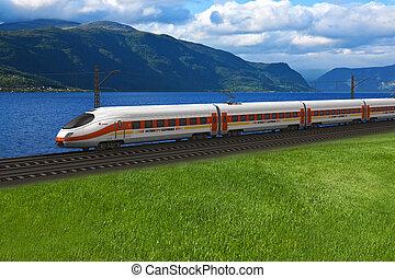 treno diretto, passare, il, montagne, e, flords
