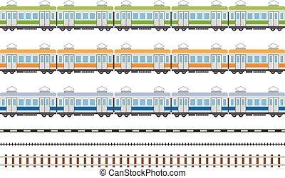 treno elettrico, automobile, semplice, illustrazione