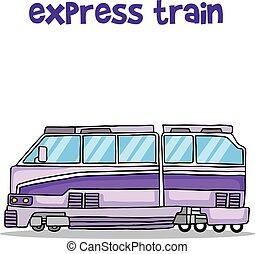 treno espresso, trasporto, collezione