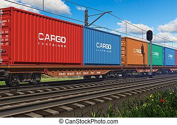 treno merci, con, contenitori carico