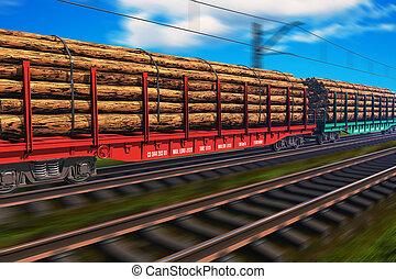 treno merci, con, legname
