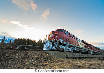 treno, passare, su, piste
