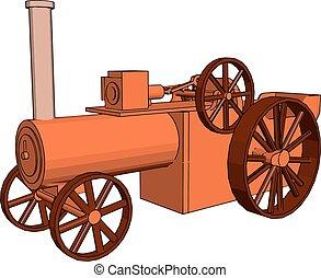 treno, retro, illustrazione, bianco, vecchio, vettore, fondo.