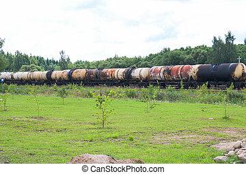 treno, rotaia, carico, grande, automobili, ferrovia, beni, porta, trasporto, liquido, rail., molti, serbatoio