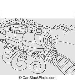 treno, scarabocchiare