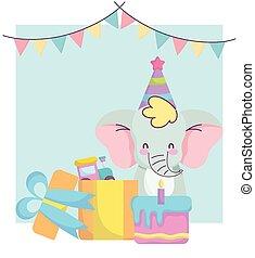 treno, scheda, regalo, bambino, annunciare, giocattolo, torta, elefante, carino, benvenuto, neonato, doccia