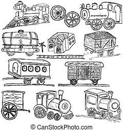 treno, schizzo, icone