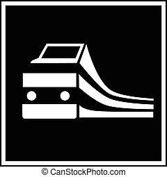 treno, silhouette, segno