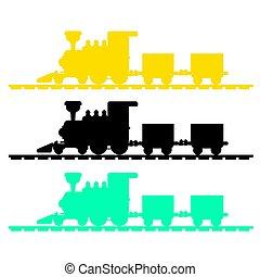 treno, silhouette, vettore