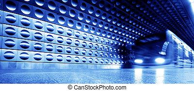 treno sotterraneo, dinamico, movimento