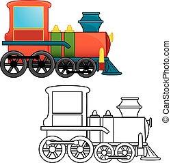treno, toy., coloritura, book., vector.