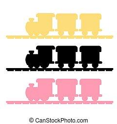 treno, vettore, silhouette