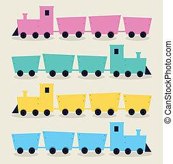 trens, fundo, isolado, coloridos, bege