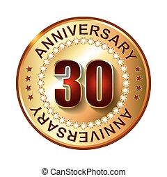 trenta, anni, anniversario, dorato, label.