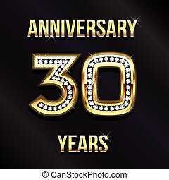trenta, anni, anniversario, logotipo