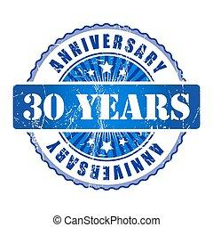 trenta, anni, anniversario, stamp.