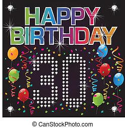 trenta, compleanno, felice