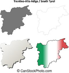 Trentino-Alto Adige blank outline map set
