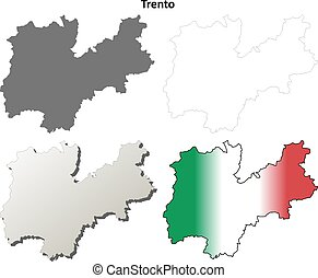 Trento blank detailed outline map set